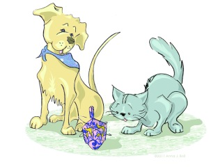 dreidel cat & dog